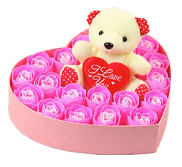 大号创意心型可爱小熊款礼品情人节玫瑰花礼盒